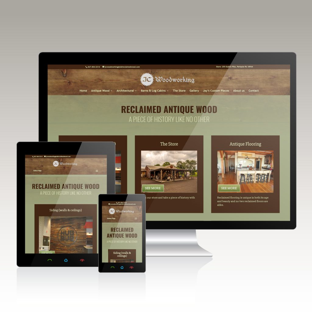 website design for retail antique store