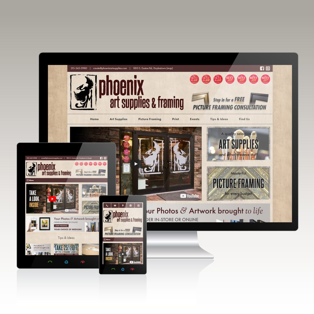 website design art supply retailer