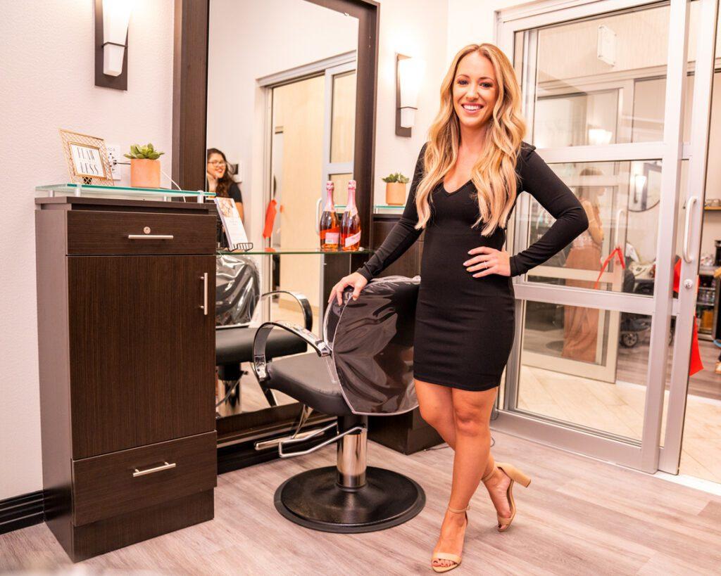 Hair Dresser Photo in Her Salon